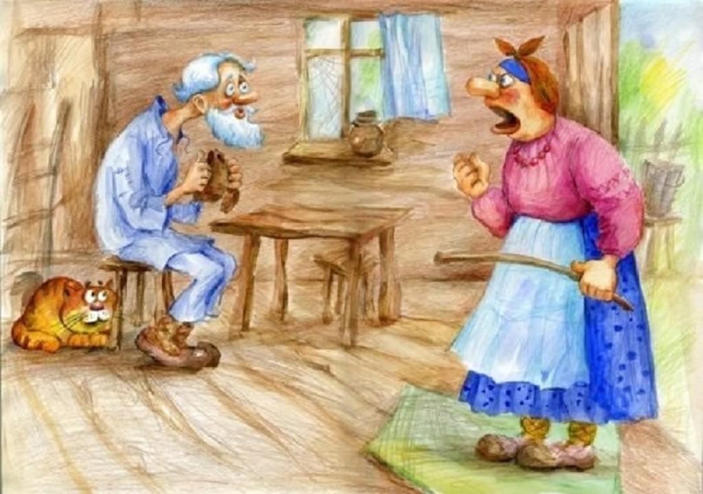 Картинки старика и старухи из русских сказок, прически