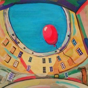 Красный шарик в синем небе
