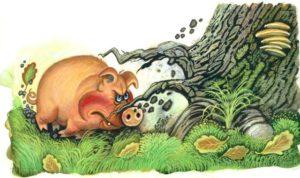 Мораль басни Свинья под дубом